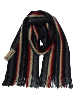 Picture of MKM Possum Merino Wool Stripe Scarf - Charcoal