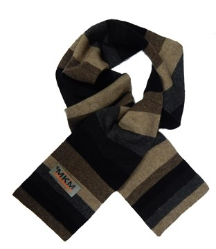 Picture of MKM Possum Merino Wool Stripe Scarf - Coffee