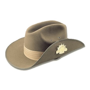 Picture of Akubra Australian Military hat with Puggaree and Chin Strap and Badge