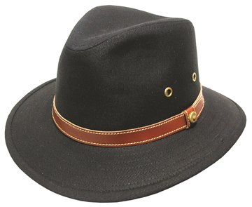 Black Blocked Canvas Hat with Leather Band