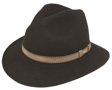 Black NORMAN Wool Felt Safari w Stitched  Faux Leather band